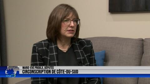 Entrevue - Marie-Eve Proulx, députée de Côte-du-Sud - 15 octobre 2021