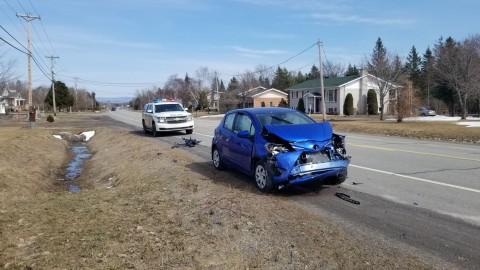 Collision entre deux voitures à Montmagny