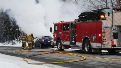 Un véhicule prend feu à Sainte-Félicité de L'Islet