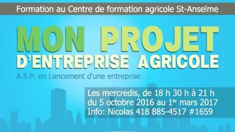 Nouveau programme de formation au Centre de formation agricole de Saint-Anselme