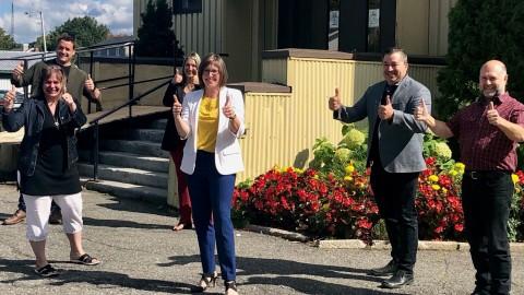 Marie-Eve Proulx inaugure une installation temporaire du CPE Enfant-Bonheur à Saint-François-de-la-Rivière-du-Sud