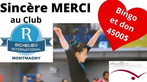 Magny-Gym reçoit 4500 $ du Club Richelieu